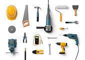 istock helmet, drill, angle grinder and other construction tools 510617716