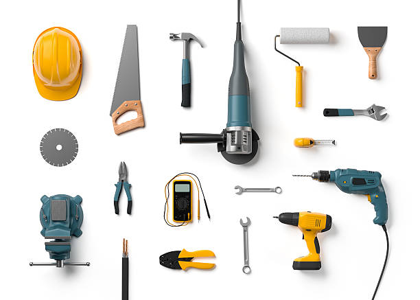 helmet, drill, angle grinder and other construction tools helmet, drill, angle grinder and other construction tools on a white background isolated drill stock pictures, royalty-free photos & images
