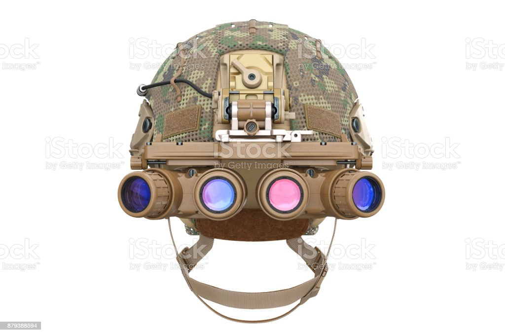 Helmet night goggles, front view stock photo