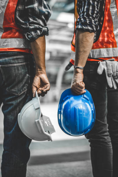 helmet of engineer stock photo