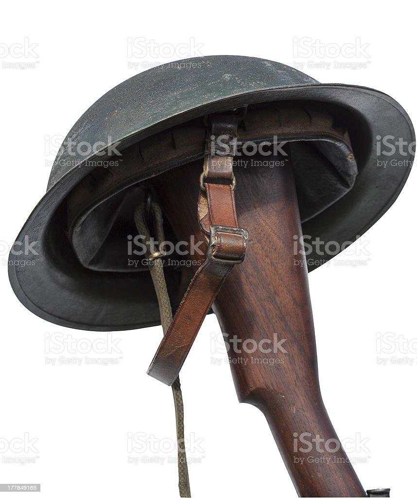 Casque sur un fusil butt - Photo