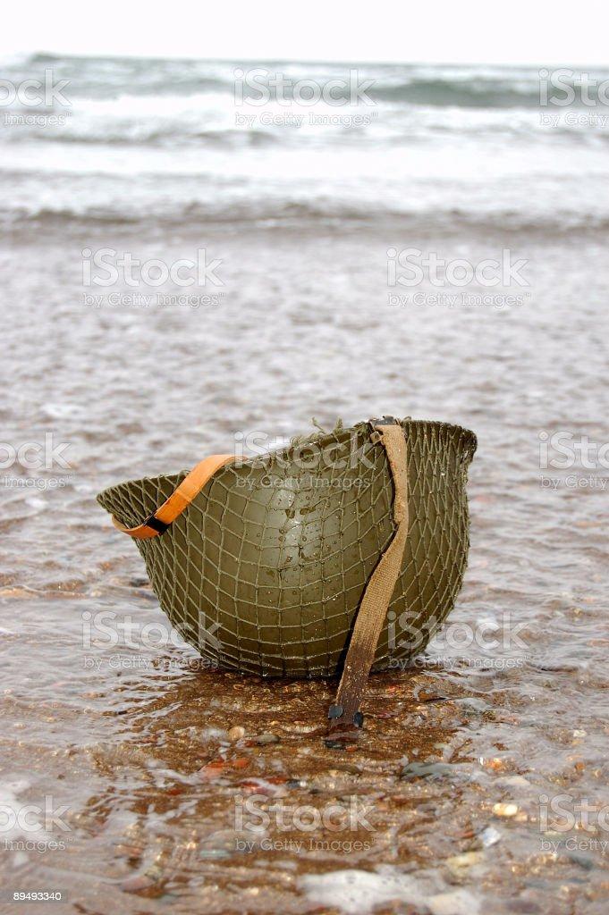 WW2 Helmet on Beach. royalty-free stock photo