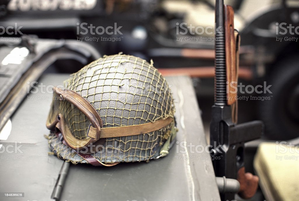 WWII helmet stock photo