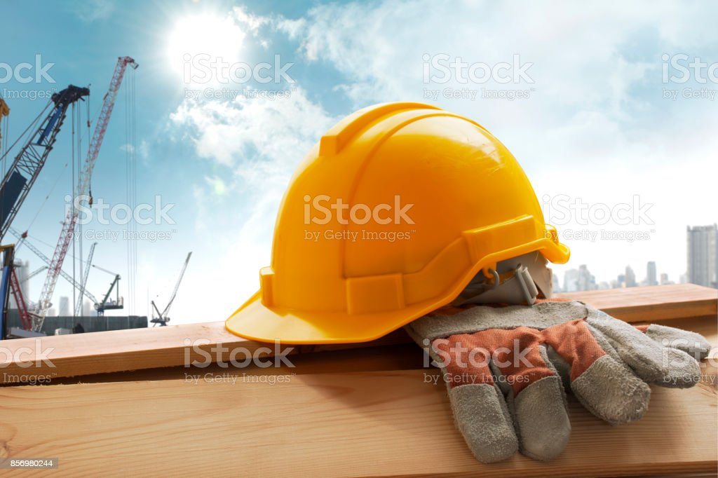 Helmet placed on the tool after work stock photo