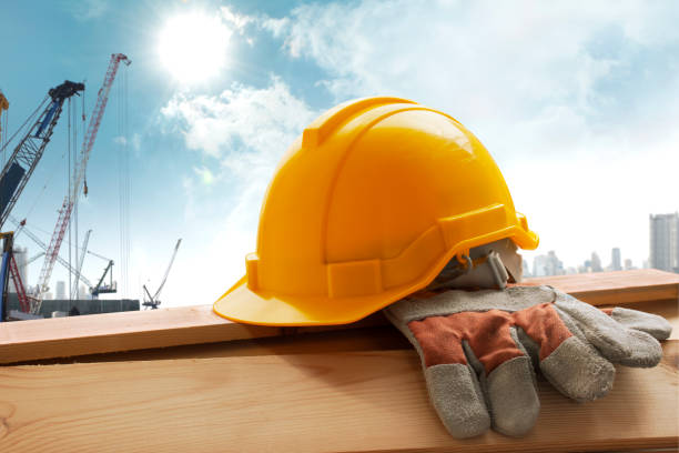helmet placed on the tool after work - safety stock pictures, royalty-free photos & images
