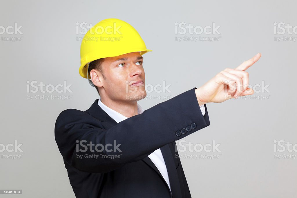 helmet wearing businessman royalty-free stock photo