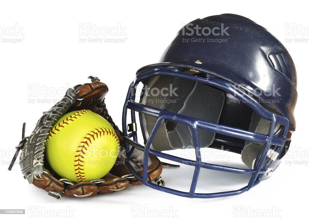 Helmet, Yellow Softball, and Glove stock photo