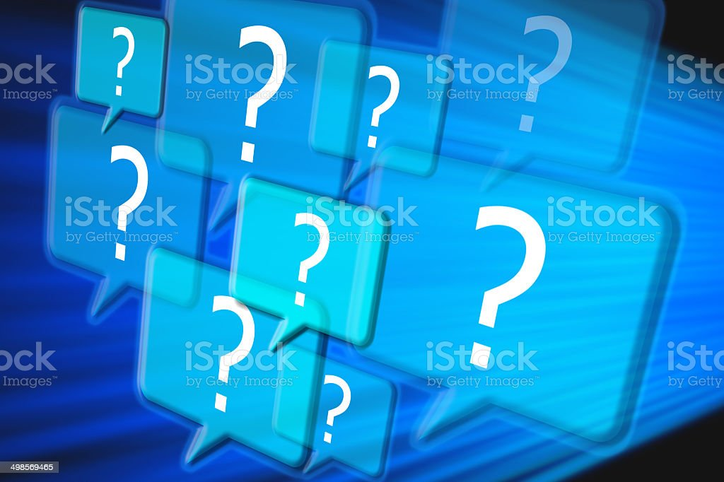 Help and support center with question marks stock photo