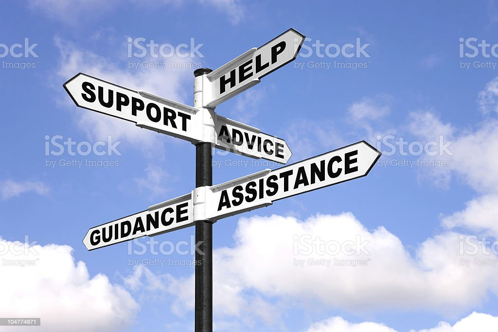 Help and support signpost royalty-free stock photo