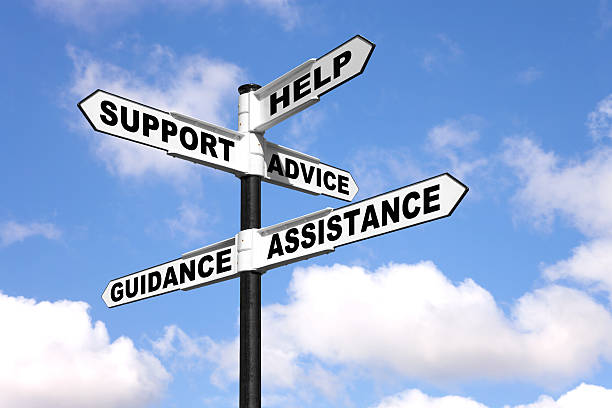 Help and support signpost stock photo