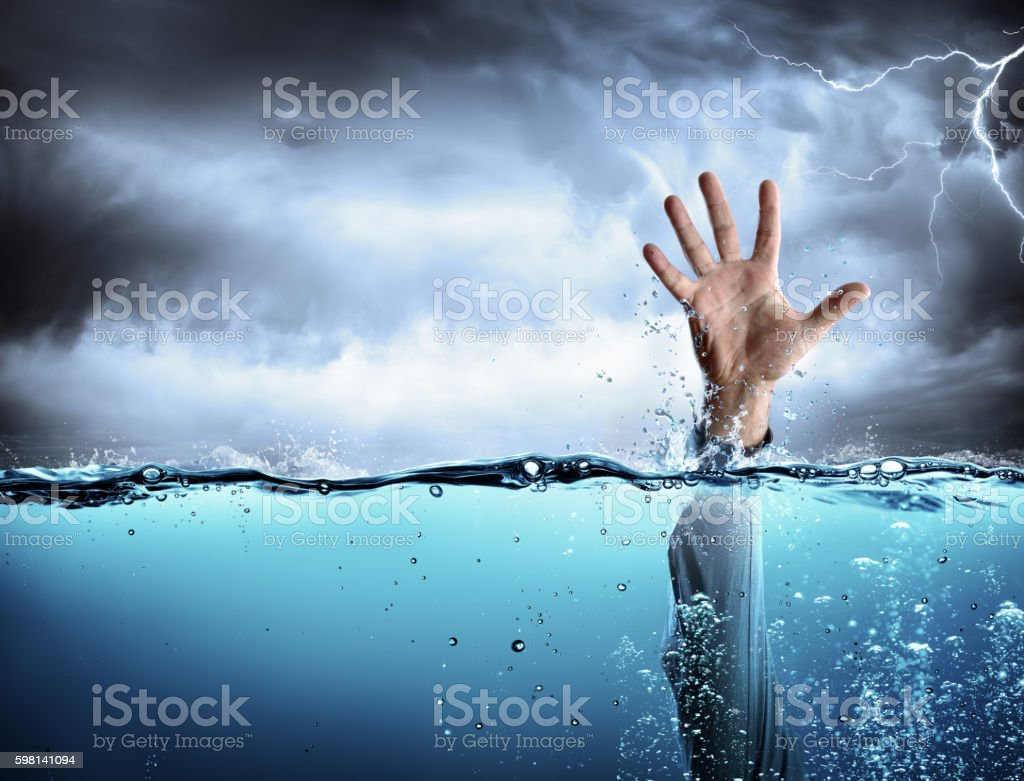 Help Concept - Drowning And Failure stock photo