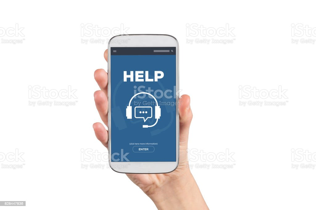 Help Concept on Smartphone Screen stock photo