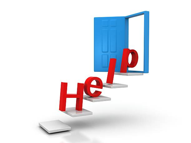 help conceptual door stock photo