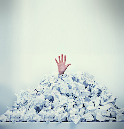 Help Im Drowning In Paperwork Stock Photo - Download Image Now