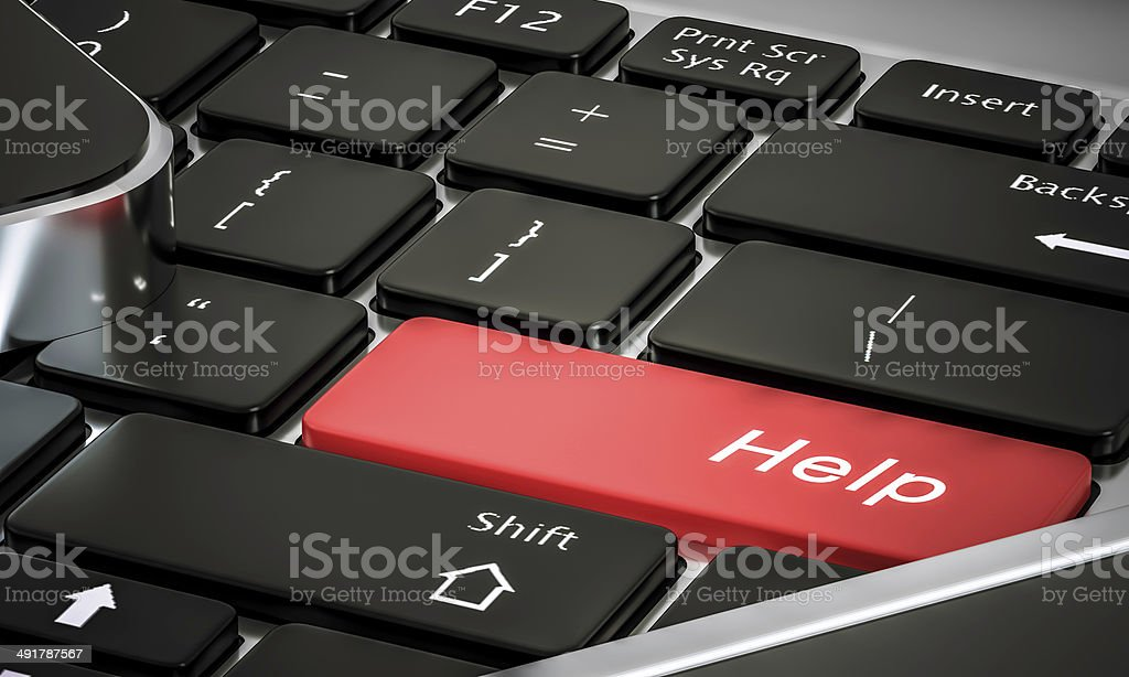 help in new computer keyboard stock photo