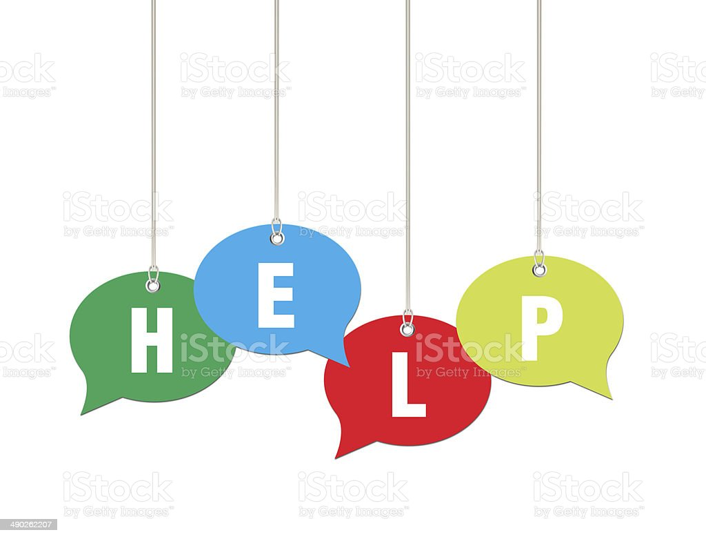 Help on Speech Bubble Price Labels royalty-free stock photo