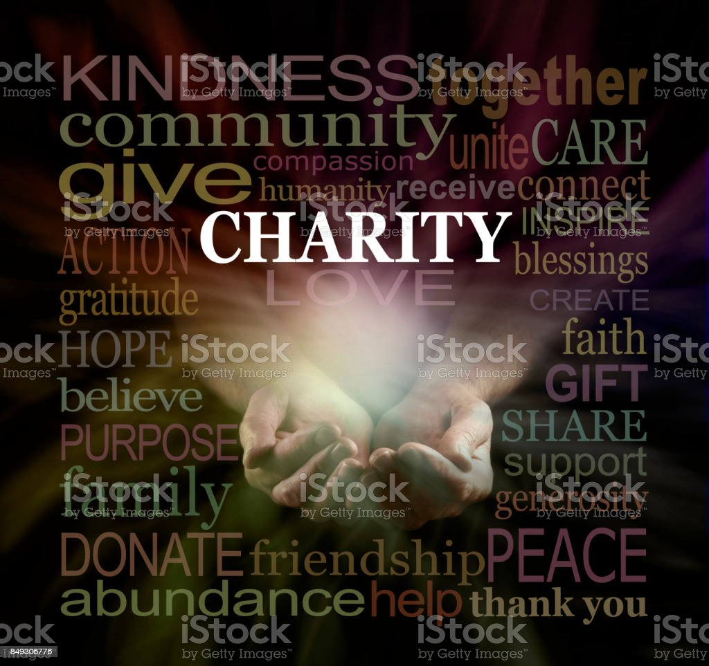 Help our Charity Fundraising Campaign Word Cloud stock photo