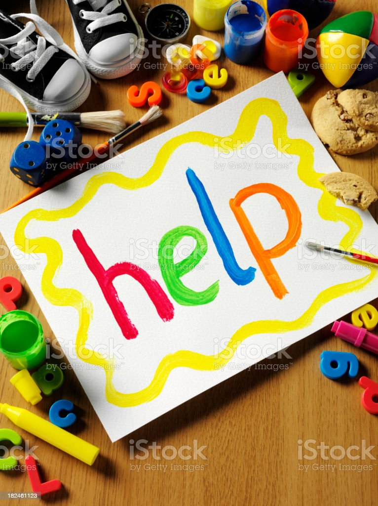 Help Painted by Children royalty-free stock photo