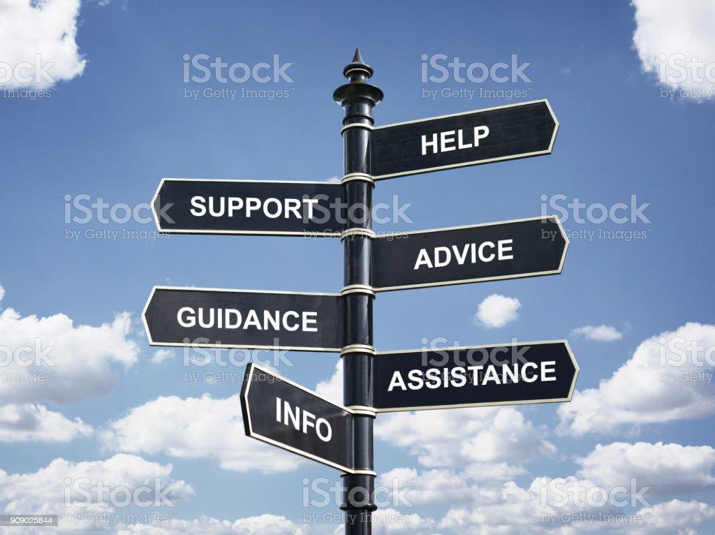 Hilfe, Unterstützung, Beratung, Anleitung, Hilfe und Info Kreuzung Wegweiser - Lizenzfrei Anleitung - Konzepte Stock-Foto