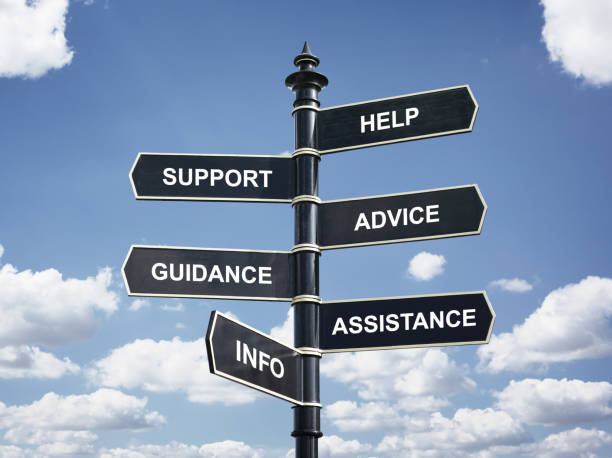 Help, support, advice, guidance, assistance and info crossroad signpost stock photo