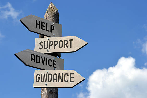 help, support, advice, guidance signpost - guide stockfoto's en -beelden
