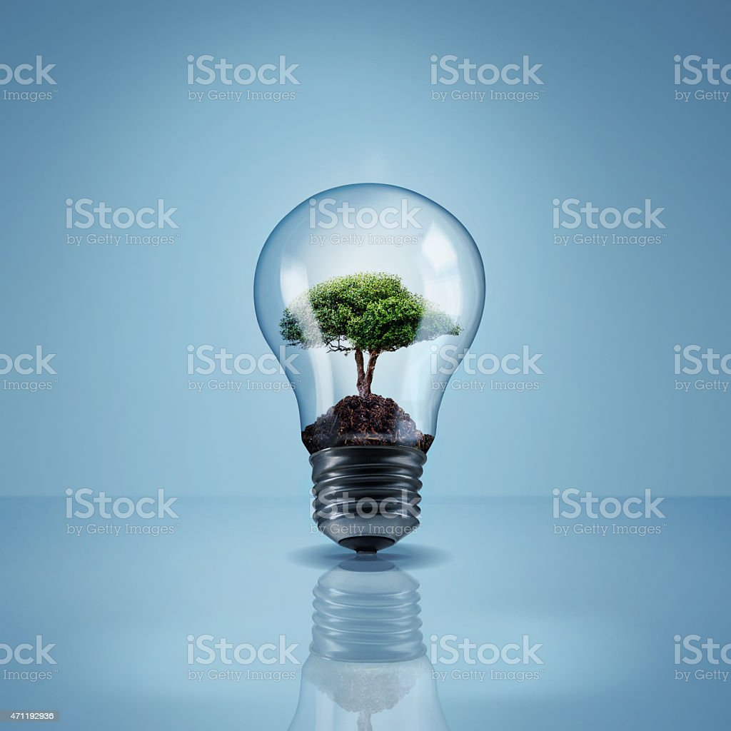 Help the environment by saving electricity stock photo