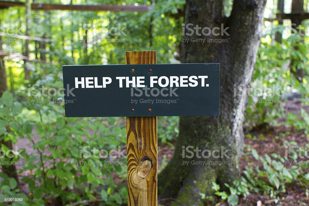 Help the Forest Sign stock photo