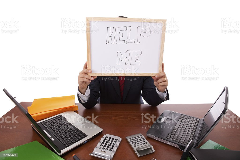 Help this businessman royalty-free stock photo