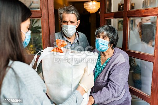 Teenage girl,volunteer,delivering a  groceries to a senior couple, insulation,COVID 19.
