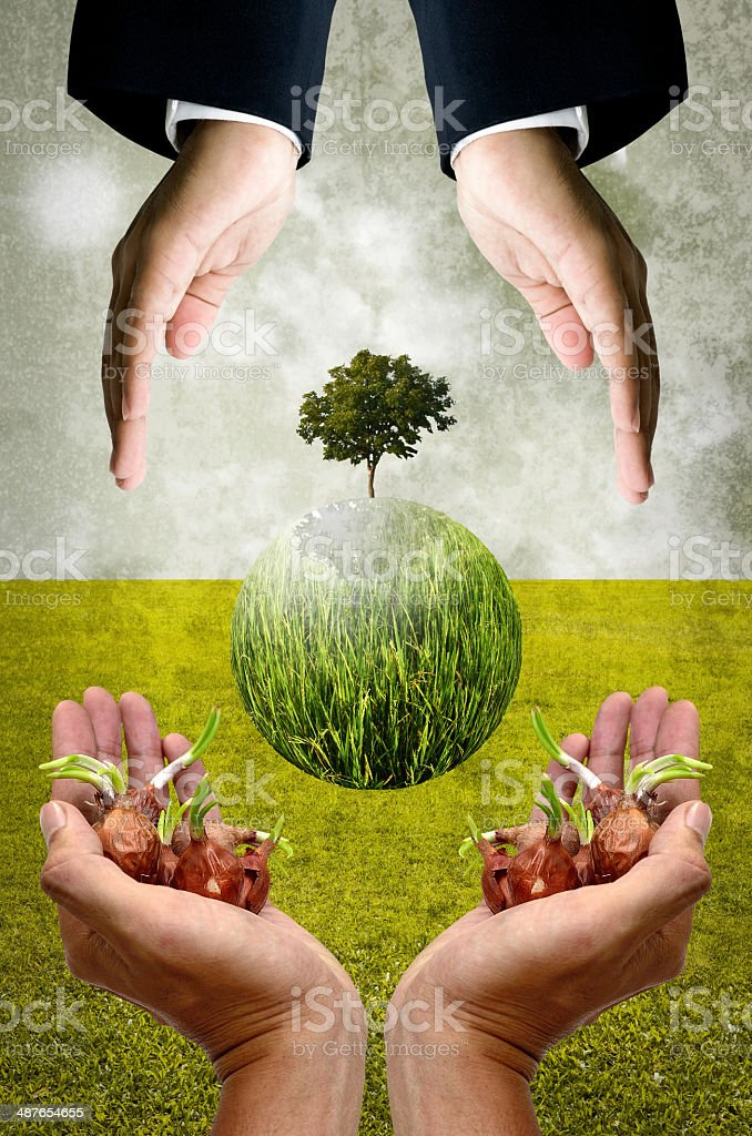 Help together for save the earth concept stock photo