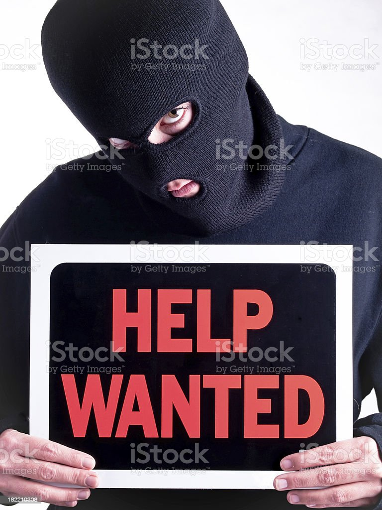 Help wanted crime royalty-free stock photo