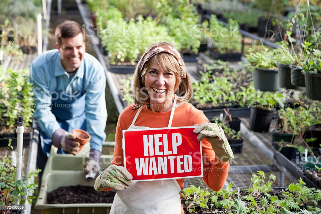workers in plant nursery with HELP WANTED sign. Focus on woman .