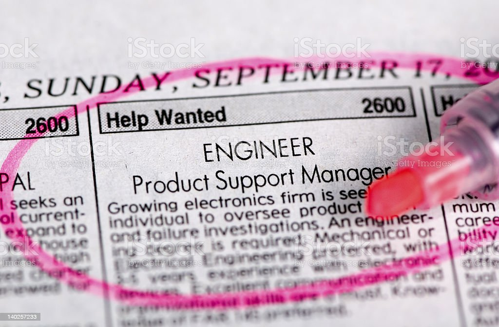 Help wanted newspaper classified ad circled in pink royalty-free stock photo