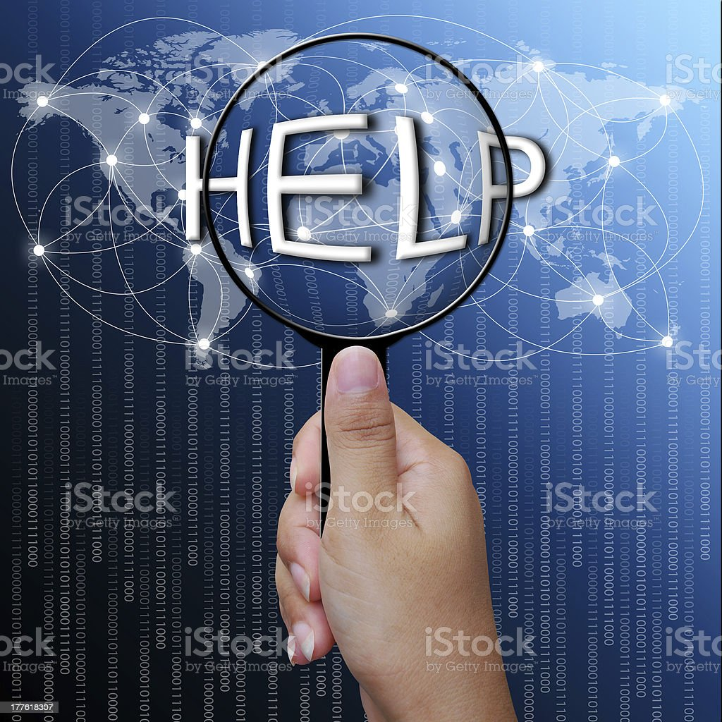 Help Word In Magnifying Glassnetwork Background Stock Photo More