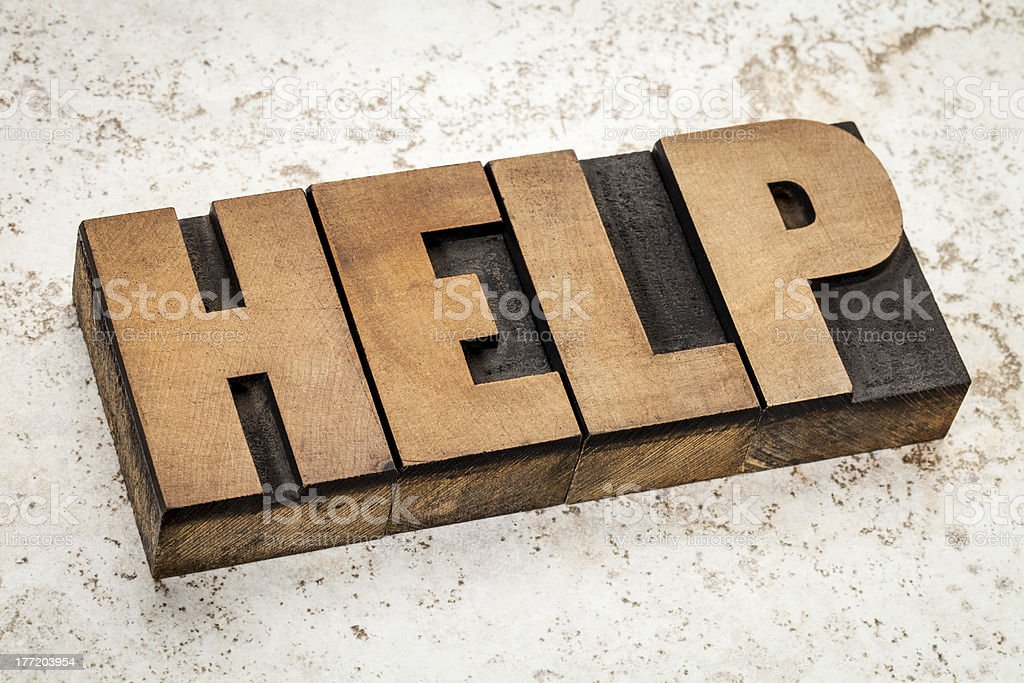 help word  in wood type stock photo