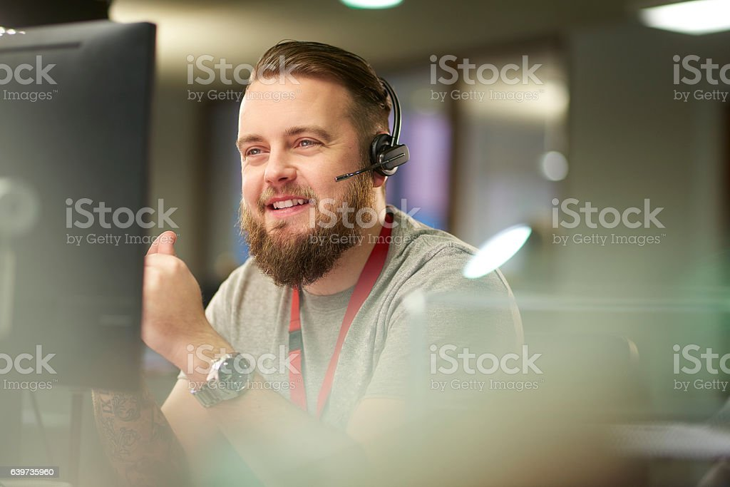 helpful customer service representative stock photo
