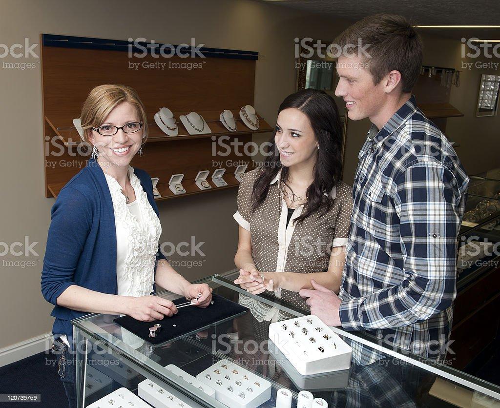 Helpful sales clerk stock photo
