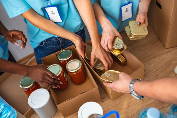 Helpful team of social workers. Cardboard boxes being filled with food donations. Helpful team of social workers. Young people volunteering to sort donations for charity food drive. Unrecognizable people volunteering in food bank food drive stock pictures, royalty-free photos & images