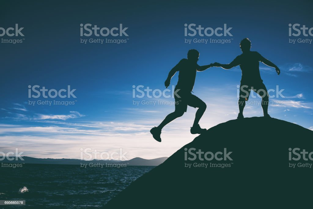 Helping and training together stock photo