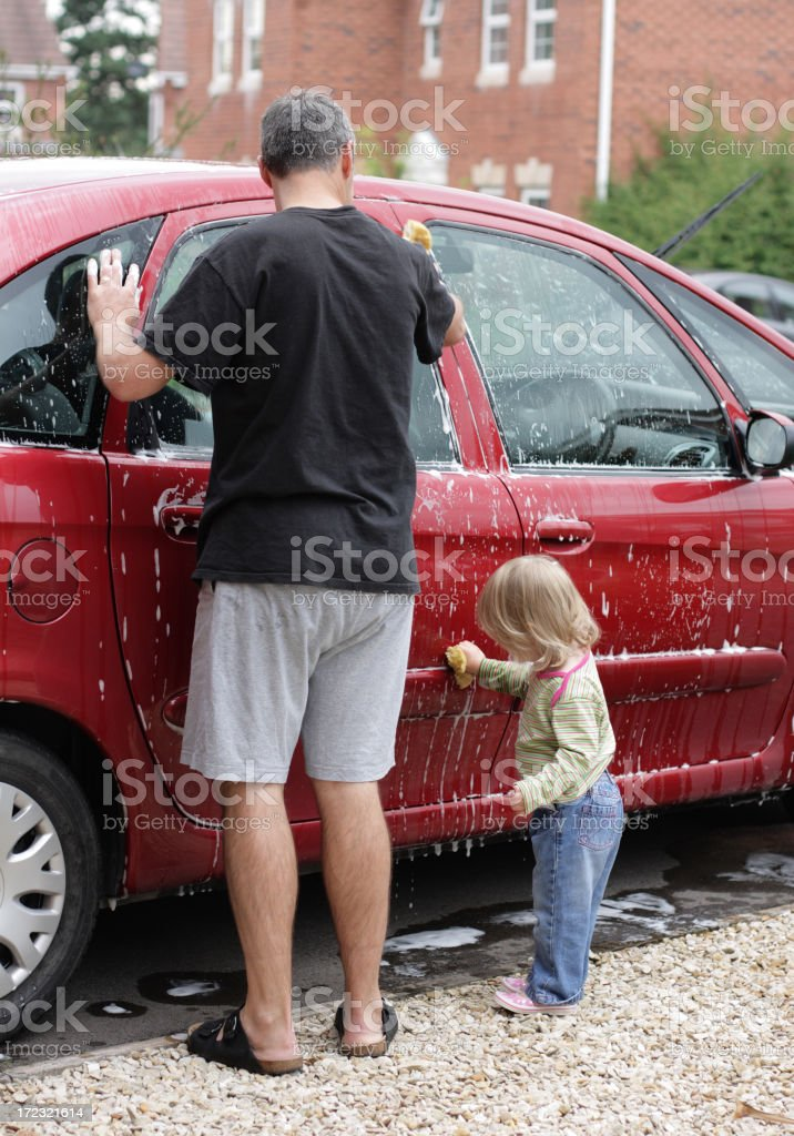 Helping Daddy Wash the Car royalty-free stock photo