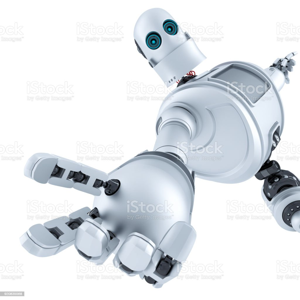 Helping hand. Technology concept. Isolated. Contains clipping path stock photo