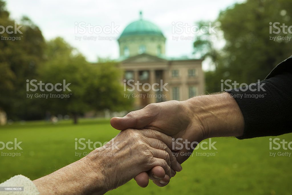 helping hand, two generations stock photo