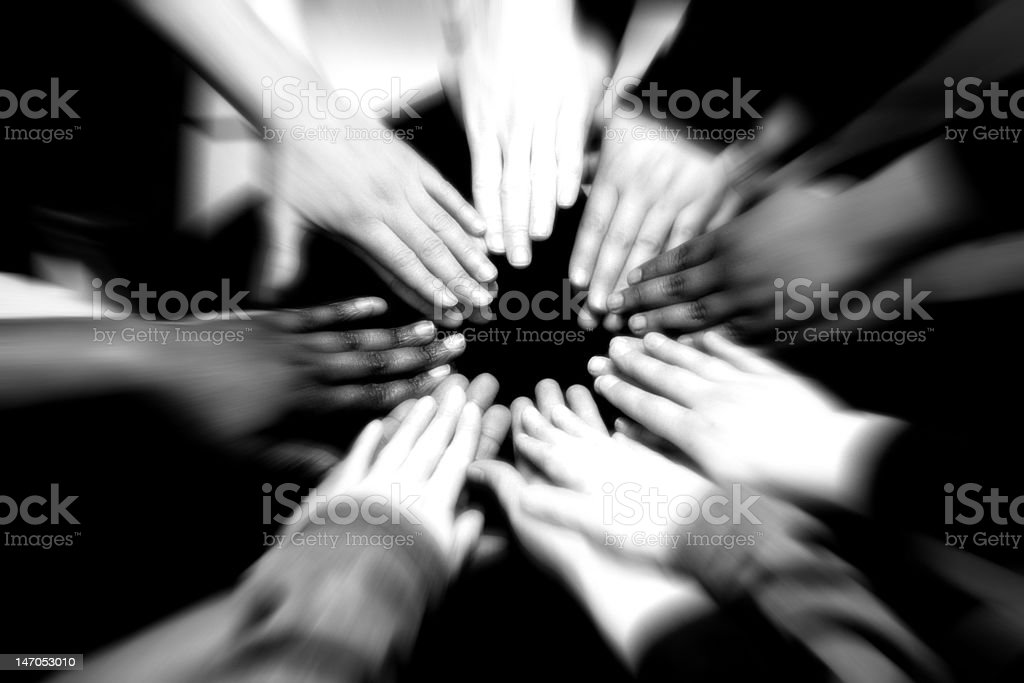 Helping Hands arranged in a circle stock photo