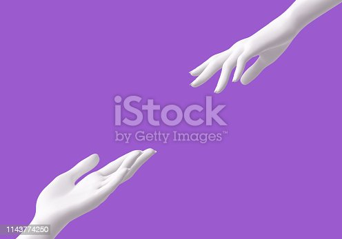 istock helping hands isolated, rescue concept, mannequin arms 1143774250