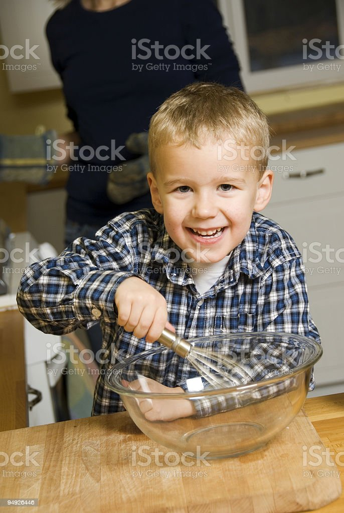 Helping Mom royalty-free stock photo