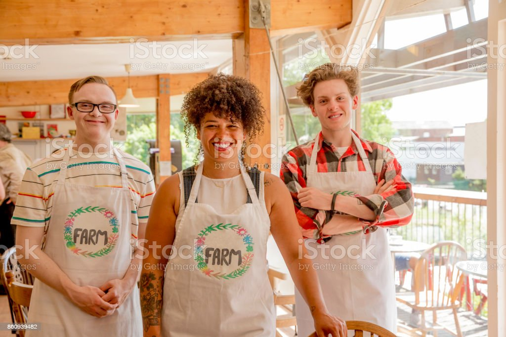 Helping Out in the Farm Cafe stock photo
