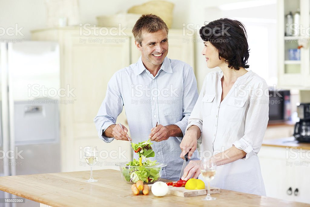 Helping out with the cooking royalty-free stock photo