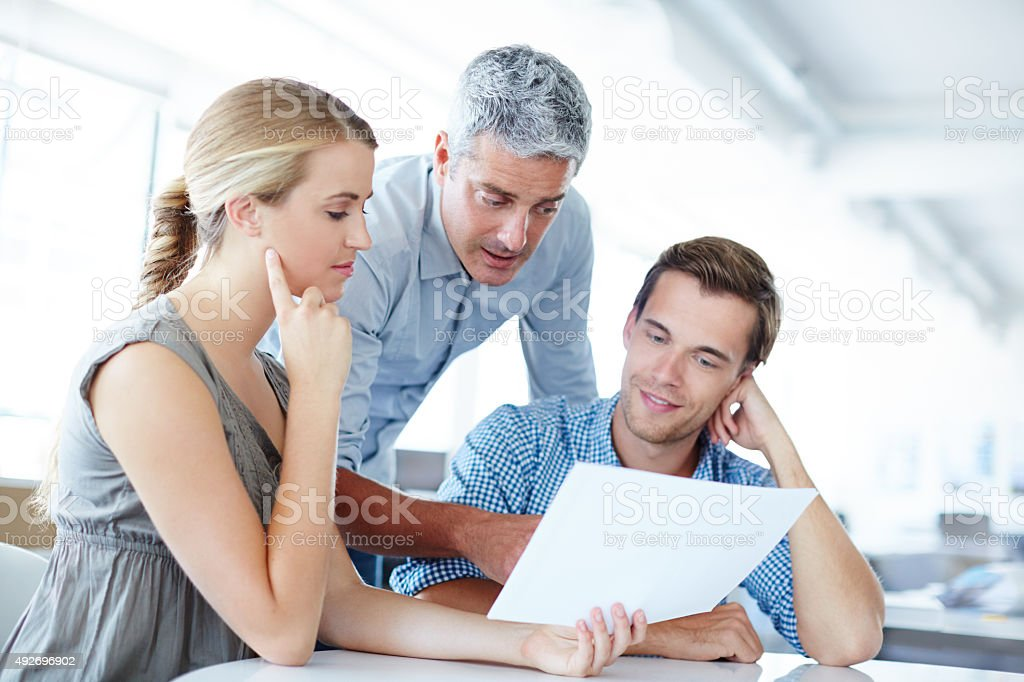Helping them make the right financial decisions stock photo