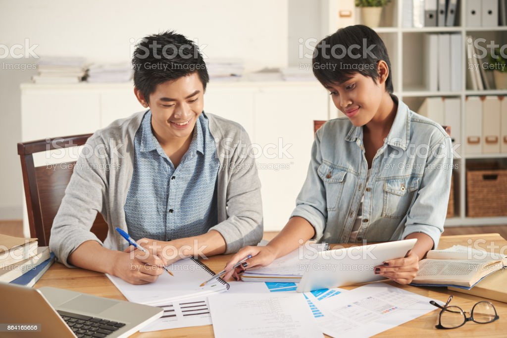 Helping with homework royalty-free stock photo