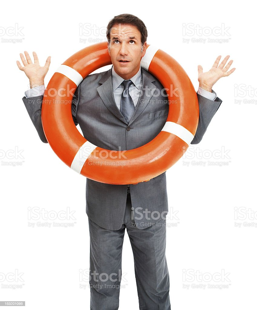 Helpless businessman with a life belt around his neck royalty-free stock photo